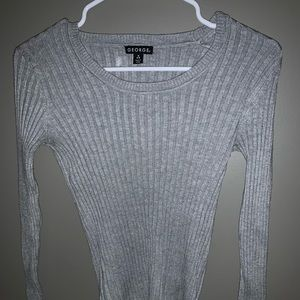 Sweaters - Ribbed Long Sleeve Fitted Sweater